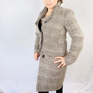 Escada Wool Glen  Plaid Check Authentic Coat Sz 36
